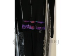 Figure Skating Thermal Catsuit Jumpsuit Glitter Explosion Violet with Crystal Zip