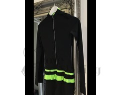 Ice Skating Thermal Catsuit Jumpsuit Smile Green / Crystal Zip