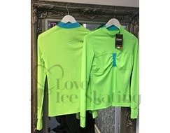 Thuono Ice Skating Training Top  Green w Blue Inserts