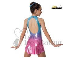 Sleeveless Ice skating Dress Blue to Pink Iridescent Fade